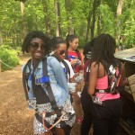 girls getting ready for ropes course